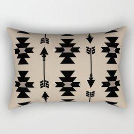 Southwestern Arrow Pattern 232 Black and Beige Rectangular Pillow