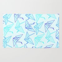 origami Area & Throw Rugs featuring Origami by StudioBlueRoom