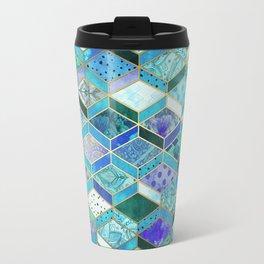 Sapphire & Emerald Diamond Patchwork Pattern Travel Mug