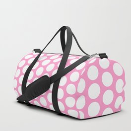 White circles on pink Duffle Bag