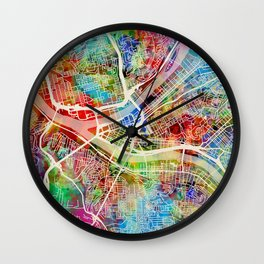 Pittsburgh Pennsylvania Street Map Wall Clock