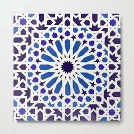 V19 Epic Light Blue Traditional Moroccan Pattern Design . Metal Print