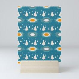 Trees in snow- ethnic pattern Mini Art Print