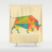 bull Shower Curtains featuring Fractal Geometric Bull by Picomodi