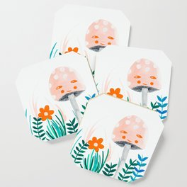 pink mushroom with floral elements Coaster