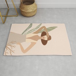 Mid Century Modern Tropical Summer Woman Rug