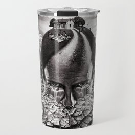 Inhabited Head Grayscale Travel Mug