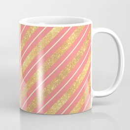 Modern elegant faux gold glitter coral geometric stripes Coffee Mug