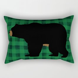 Black Bear - Green Plaid Rectangular Pillow