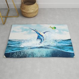 Blue Marlin Jumping After Mahi-Mahi (dolphin fish) Rug