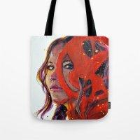 katniss Tote Bags featuring Katniss by Alina Rubanenko