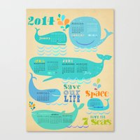calender Canvas Prints featuring Whale Calender 2014 by Elisandra