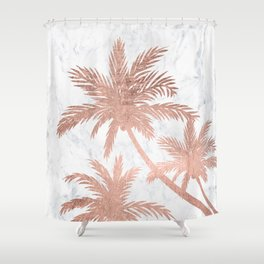 Tropical simple rose gold palm trees white marble Shower Curtain