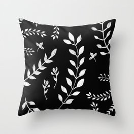 White Leaves Pattern #3 #drawing #decor #art #society6 Throw Pillow