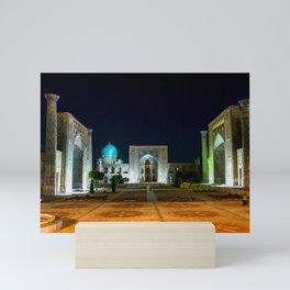 Registan square at night - Samarkand, Uzbekist Mini Art Print