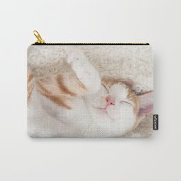 Sleeping baby orange and white tabby kitten Carry-All Pouch