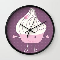 cake Wall Clocks featuring CAKE by Alix Création