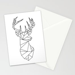 Geometric Stag (Black on White) Stationery Cards