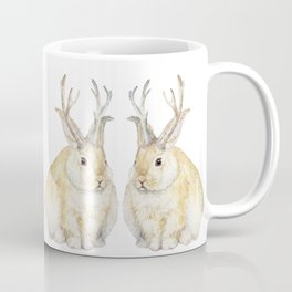 Watercolor Grumpy Jackalope Antler Bunny Coffee Mug