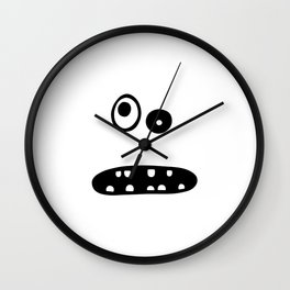 Crazy cute face illustration Wall Clock