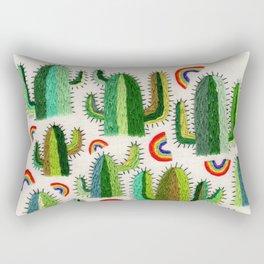 Cacti and Rainbows Rectangular Pillow