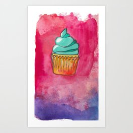 Watercolor Cupcake Art Print