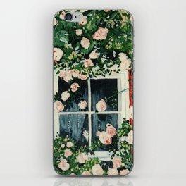 Cat In Window Of Roses iPhone Skin
