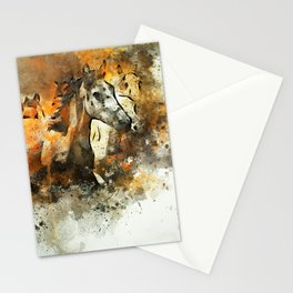 Watercolor Galloping Horses On Raw Canvas | Splatter Painting Stationery Cards