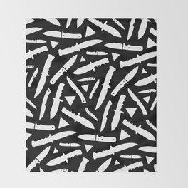 Survival Knives Pattern - White on Black Throw Blanket