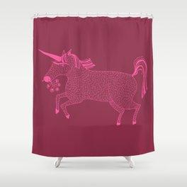 Pink on Pink Unicorn Shower Curtain