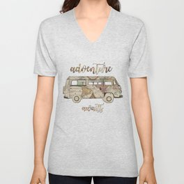 adventure awaits world map design 1 Unisex V-Neck