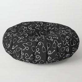 Stethoscopes - White on Black Floor Pillow