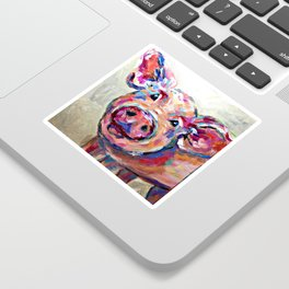 Happy Pig Art Sticker