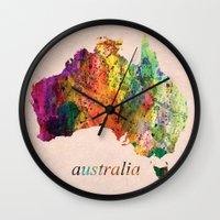 australia Wall Clocks featuring Australia  by mark ashkenazi