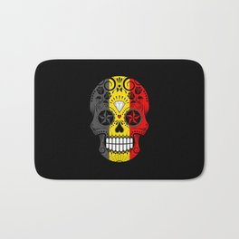 Sugar Skull with Roses and Flag of Belgium Bath Mat