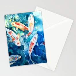 Koi Fish Watercolor by Julesofthsea Stationery Cards