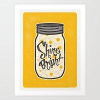 fireflies Art Prints featuring Fireflies by Landon Sheely