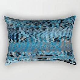Blue Glitch Art Rectangular Pillow