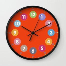 Colorful clock orange Wall Clock
