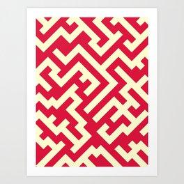 Cream Yellow and Crimson Red Diagonal Labyrinth Art Print