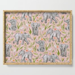 Baby Elephants and Egrets in watercolor - blush pink Serving Tray