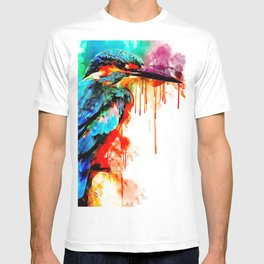 Close-up of Common Kingfisher (Alcedo atthis) perching on a branch. Also known as the Eurasian or River Kingfisher - Bird Art - Amazing Watercolor plus Oil Painting T-shirt