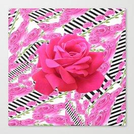 MODERN ABSTRACT CERISE PINK ROSE GARDEN  ART Canvas Print