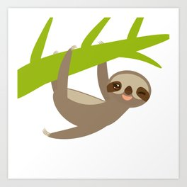funny and cute smiling Three-toed sloth on green branch Art Print