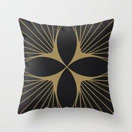 Diamond Series Floral Diamond Gold on Charcoal Throw Pillow