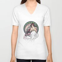 mucha V-neck T-shirts featuring Alfons Mucha Music by Puddingshades