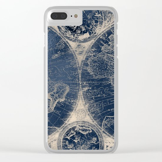 Antique World Map Gold Navy Blue Library Clear iPhone Case
