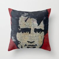 kerouac Throw Pillows featuring Jack Kerouac: Get On The Beat  by Emily Storvold