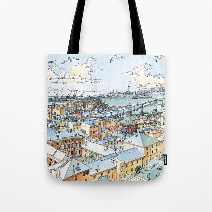 Panoramic of Genoa Tote Bag
