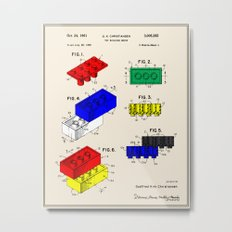 Lego Building Brick Patent - Colour Metal Print